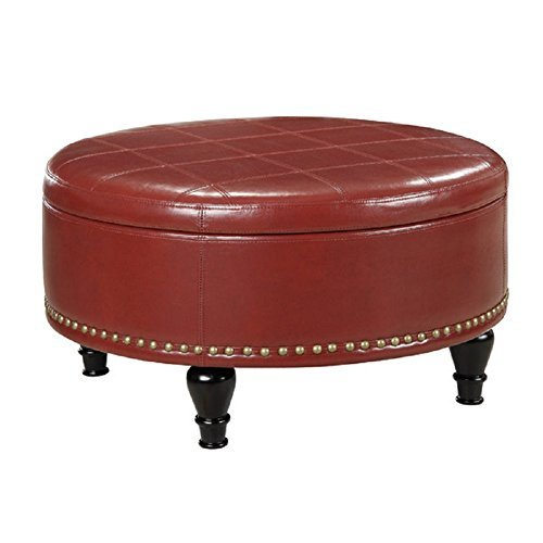 Office Star Augusta Eco Leather Storage Ottoman, Crimson - Ottoman Leather Eco