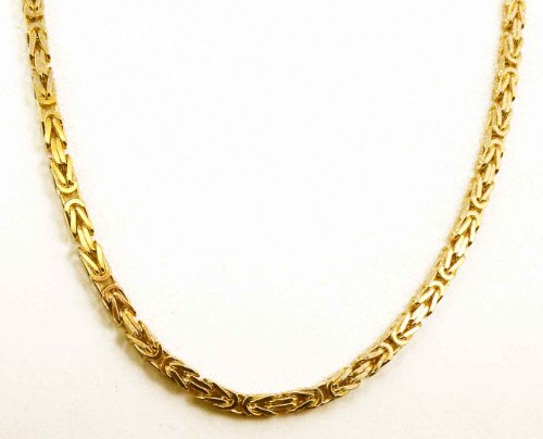 tendenze Collier Chaine Bizantine maille royale or doublé, 6mm, Longueur au choix, directement de l'usine italienne