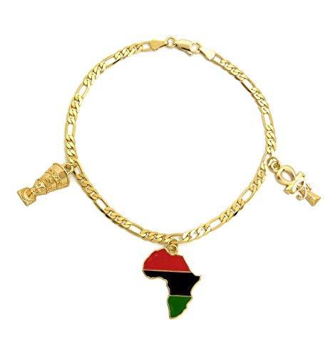 Fashion 21 Women's Egypt Ankh, Eye of Horus, Nefertiti, Africa Continent Charm 3.5mm 10'' Figaro Chain Anklet (Nefertiti+Ankh+Africa 3 Charm) by Fashion 21