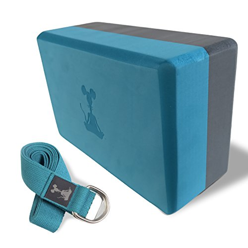 Yoga Block and Yoga Strap Set: One Block and 8' Strap