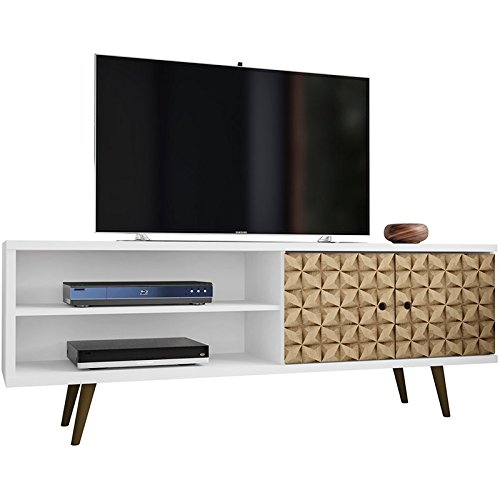 Manhattan Comfort 201AMC67 Liberty Mid-Century Modern Television Stand, Medium, White/3D Print (Dvd Storage Tv Units And)