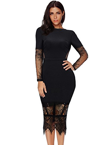 Meilun Womens Lace Long Sleeve Bandage Bodycon Party Dress (S, Black)