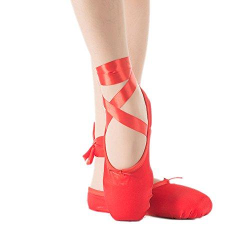 Kauftree Spitzenschuhe Ballet Ballettschläppchen Satin Ballettschuhe für Mädchen Damen Rot