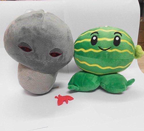 Plants Vs Zombies Series Plush Toy 2pcs Set - Doom Shroom 18cm/7inch and Melon Pult 15cm/6inch