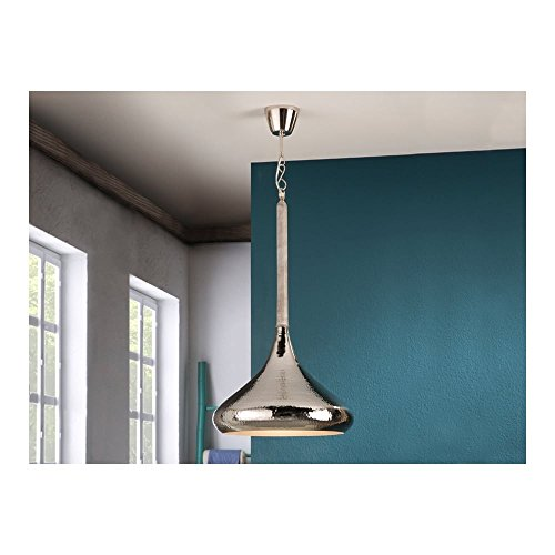 Schuller Spain 535190I4L Moroccan Nickel Hanging Ceiling Light Pendant moroccan light pendant white patina 1 Light Dining Room, Living Room, Bedroom Hammered Finish | ideas4lighting by Schuller