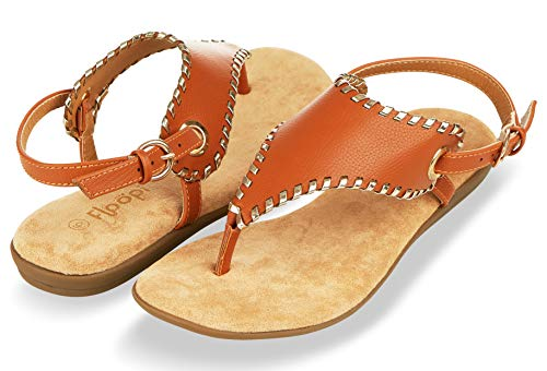 Floopi Sandals for Women | Cute, Open Toe, Wide Elastic Design, Summer Sandals| Comfy, Faux Leather Ankle Straps W/Flat Sole, Memory Foam Insole (7, Camel-511)