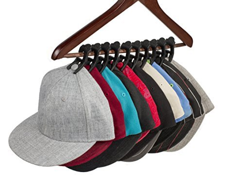 Hanging Hat Organizer for Your Closet That Showcases Your Favorite Ball Caps and Protects Hats Better Than a Hat Rack or Baseball Cap Storage Solution With Hangers You Already Own (10 Pack) (Black)