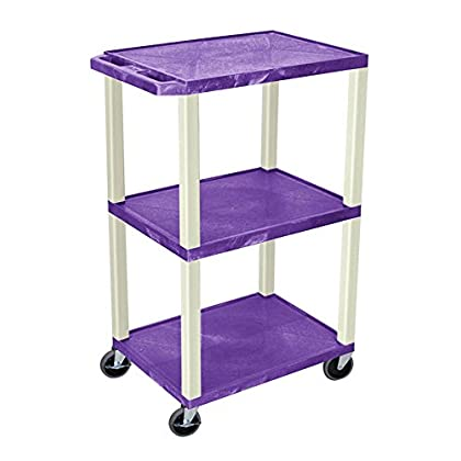 Image of AV Carts & Stands Offex 42'H Electric A/V Cart with 3 Shelf and Putty Leg - Purple