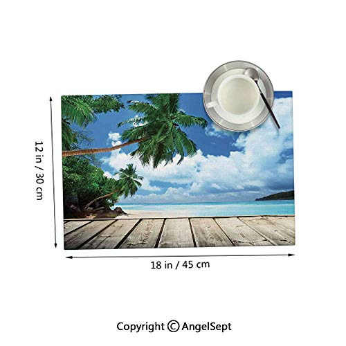 Homenon Heat Resistant Clean Table Mats,Tropical Island Beach from The Deck Pier by The Ocean with PalmTrees Exotic Green Navy Brown 12x18inches,Polyster Table Mats Set of 6
