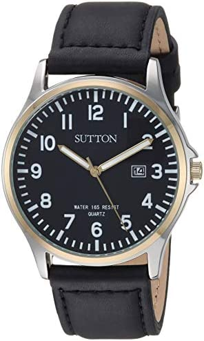 Sutton by Armitron Men s SU 5015BKTT Date Function Two-Tone and Black Leather Strap Watch