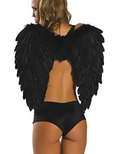 Bigood Black/Red Feather Fallen Angel Wings w/ Shoulder Laces (Black) (Black Feather Wings)