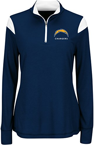 NFL San Diego Chargers Women's Inspired Intensity Long Sleeve Mock Neck 1/4 Zip Top, Large, Navy/White