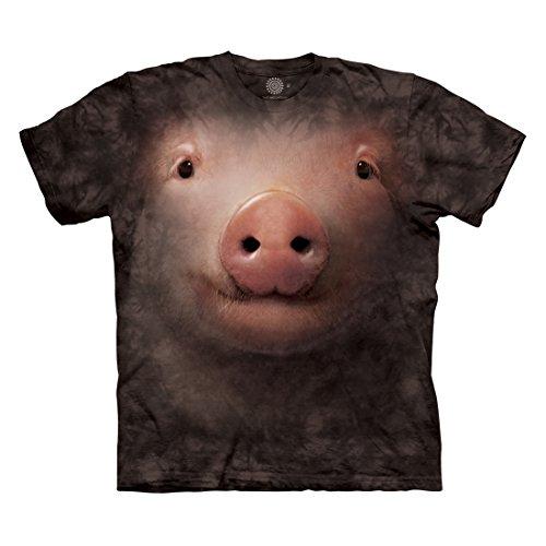 The Mountain Men's Pig Face T-Shirt, Black, L (Face Pig)