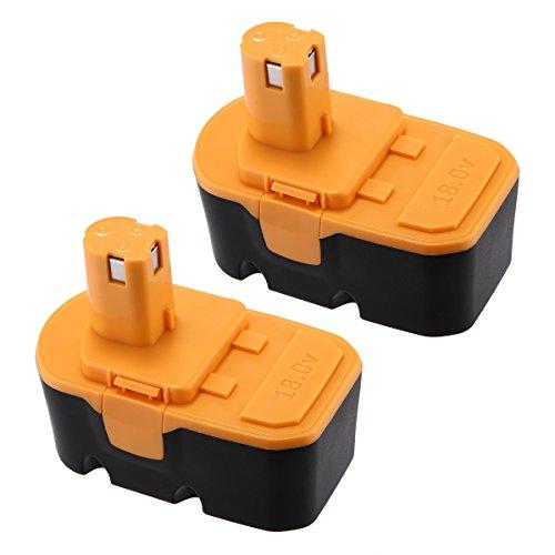 Powerextra 2 Pack 3000mAh 18V Ryobi Battery Replacement For Ryobi ONE+ Ryobi P100 Ryobi P101 Cordless Power Tools Ryobi 18V Battery(Black and Yellow Random Delivery)