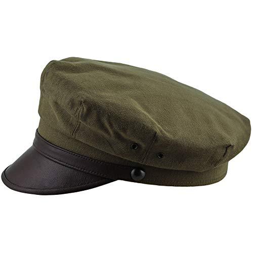 1950s Mens Hats - Sterkowski Retro Elvis Style Moto Hat Pure Cotton US 7 1/8 Olive/Brown