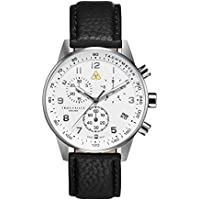 Trouvaille Watches Aviator White Chronograph - Swiss Made Watch - Black Strap