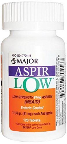 - Major Pharmaceuticals 700731 Aspir-Low Enteric-Coated Tablet, Compare to Bayer Low Dose, 81 mg, Yellow (Pack of 120)