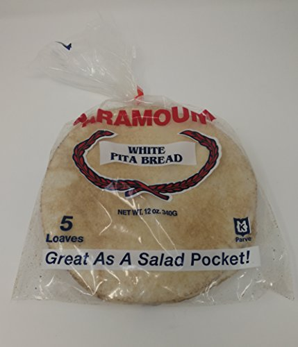 Paramount Bakery White Pita Bread Package of 5 (5 Loaves in Each Package) 25 Total Pita Pockets (Great for Salads, Hummus, Pita Pockets & Much More)