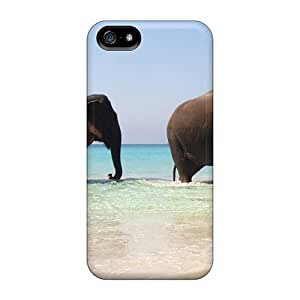 Anti-scratch Case Cover Dan Larkins Protective Elephant Pair On The Beach Case For Iphone 5/5s by runtopwell