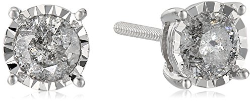 14k Round Diamond White Gold Miracle Stud Earrings (1cttw, J-K Color, I2-I3 Clarity) by Amazon Collection