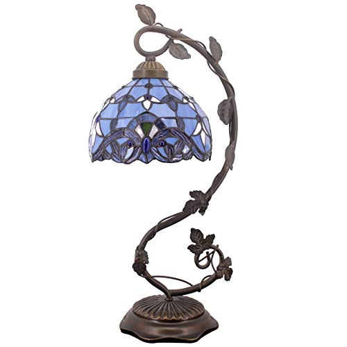 Tiffany Desk Lamp Lavender Stained Glass Table Light Blue Purple Baroque Style W8 H22 Inch for Living Room Bedroom Dresser Bookcase Coffee Table Beside Reading S003C WERFACTORY