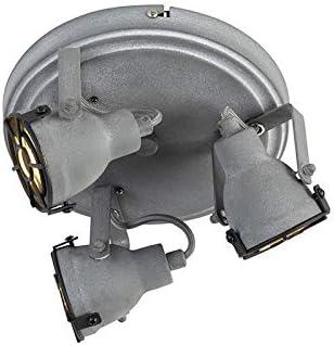 3-Way//Indoor Lighting//Lights//Lamps//Living Room//Kitchen 3 x 25 Watt QAZQA Industrial Sturdy Ceiling Spotlight 3 Concrete Grey Medox Round GU10 Max
