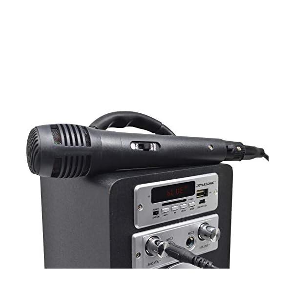 DYNASONIC Enceinte Bluetooth Karaoké Portable série 025 Noir Radio FM, Connexion Bluetooth 2.1, Lecteur SD USB et Microphone 3