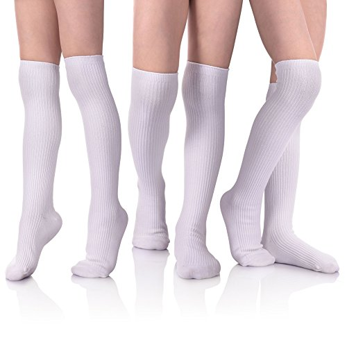 HERHILLY School Uniform Classic Cable Cotton Over Knee-high Socks for Big Girls Solid Colors Stylish Boot Socks 3 Pack (Medium 7-9 Year old, 3 Pack White)