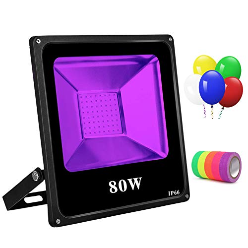 Black Light 80W Led Blacklight with 5 Led Balloons UV Flood Light IP66 Waterproof Ultraviolet Light with 5 Fluorescent Neon Glow Tapes for Dance Party Body Paint Disco Night Club Stage Glow in Dark