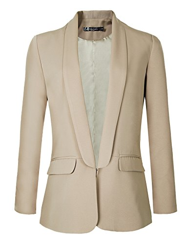 (Urban CoCo Women's Office Blazer Jacket Open Front (XL, Khaki))