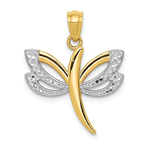 14k Yellow Gold Dragonfly Pendant Charm Necklace Insect Fine Jewelry Gifts For Women For Her