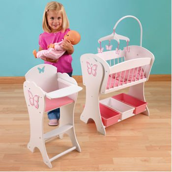 Charmant KidKraft Pretty Butterfly Doll Furniture Set. Beautiful Matching 2 Piece  Rocking Cradle And High