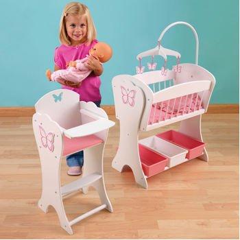 Etonnant KidKraft Pretty Butterfly Doll Furniture Set. Beautiful Matching 2 Piece  Rocking Cradle And High
