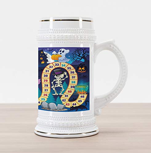 Lunarable Board Game Beer Stein Mug, Halloween Theme Happy Witch Girl Vampire Ghost Pumpkins Happy Comic, Traditional Style Decorative Printed Ceramic Large Beer Mug Stein, Multicolor]()