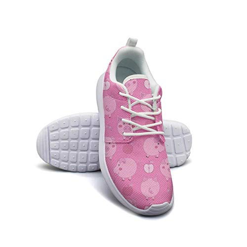- Cartoon Pink Pigs with Apples Women Flat Bottom Casual Shoes Sneakers Comfortable Tennis Shoes