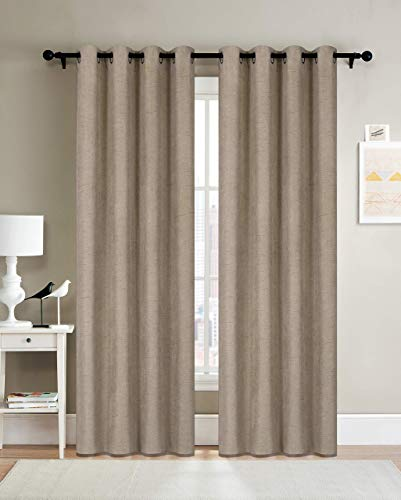 Curtainsville METERO – Blackout Faux Linen Curtain 2 Panels Room Darkening Window Treatments Draperies Silver Grommet top Livingroom Bedroom Kitchen office 52W84L 7ft Long TAUPE