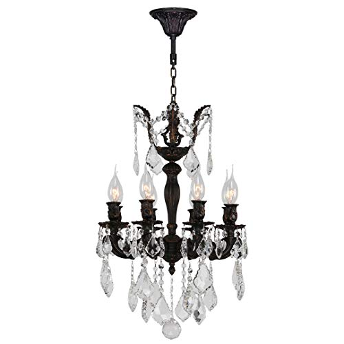 - Worldwide Lighting Versailles Collection 8 Light Flemish Brass Finish and Clear Crystal Mini Chandelier 16