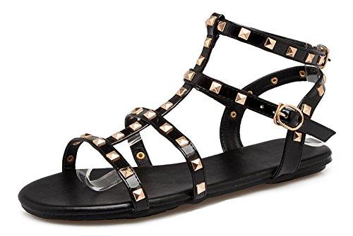 Rivets Décor Classique Noir Plates Femme Bande Chaussures Aisun Sandales xAZq4Ewaa