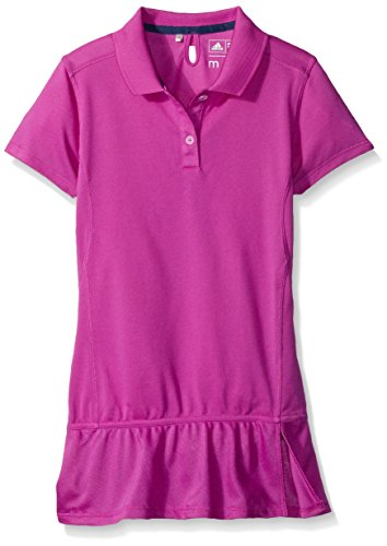adidas Golf Girl's Climalite Advance Girls Pique Short Sleeve Polo, Flash Pink, Small (Golf Clothes For Girls)