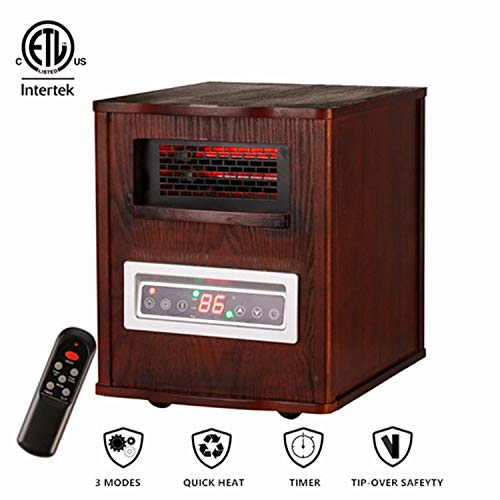 Leisurelife Electric Fireplace Stove for 1000sq.ft-Adjustable Infrared Heater Thermostat with Remote Dark Walnut Wooden Max1500W