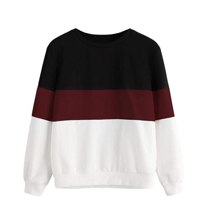 quality design a6662 6608d VICGREY Felpa da Ragazza, Donna Casuale Manica Lunga O-Collo Felpa  Patchwork Pullover Elegante Camicia Manica Lunga T-Shirt Pullover Top  Camicetta
