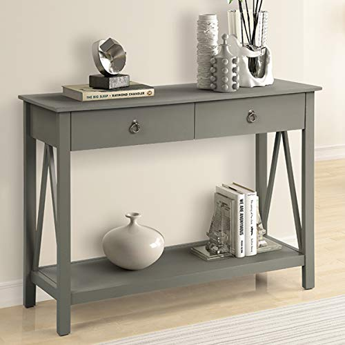P PURLOVE Sideboard Console Table, Entryway Table, Sofa Table with 2-Drawers and Bottom Shelf (Dark Khaki)