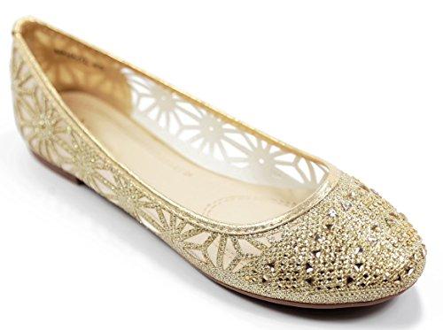Anna Women Dana-17 Casual Rhinestone Glitter Mesh Slip On Ballet Flat Lightweight,17-Gold,6.5