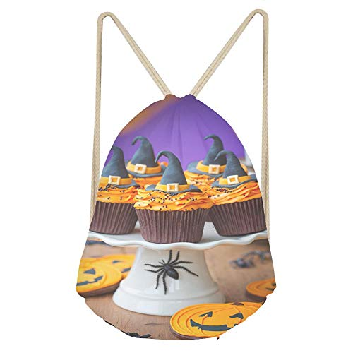 Sports Drawstring BackpackA plate of halloween cupcakes with orange frosting]()