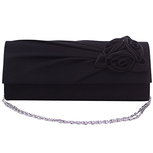 Bag Clutch Strap Rose Wocharm Women's Clutch Shoulder Evening Handbag Satin Wedding Bouquet With Party Black qpnTwBU