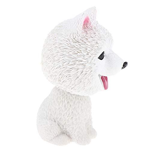 (Flameer Cute Bobbing Head Dog Puppy Bobble Head Auto Car Dashboard Decors Toy Ornament, Resin - Samoyed)