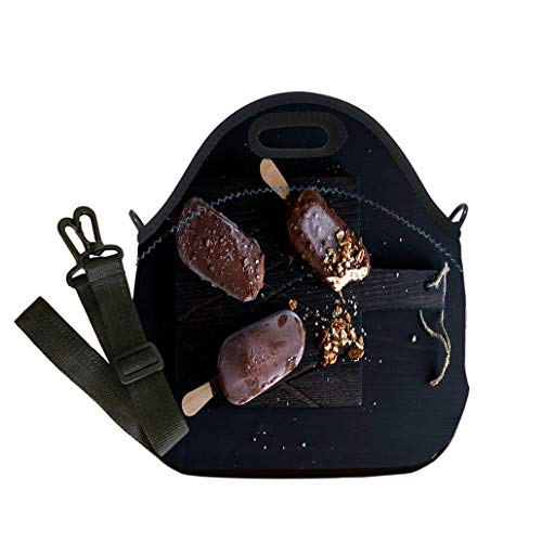 Lunch Box Insulation Lunch Bag Large Cooling Tote Bag Neoprene Insulated Lunch Tote Bag Chocolate dipped popsicles with chipped nuts on custom Stylish Lunch Bag, Multi-use for Men, Women and Kids