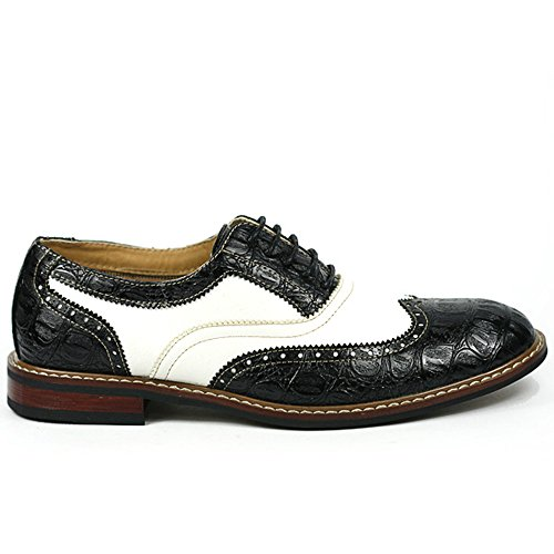 Ferro Aldo M-139001B Black White Mens Lace Up Perforated Dress Classic Oxford Shoes w/ Leather Lining (10.5)