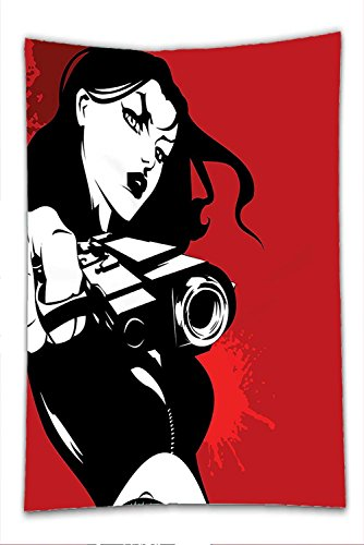 Detective Costume Images (Nalahome Fleece Throw Blanket Girls Decor Strong Iconic Warrior Lady Character Holding a Gun Female Detective Weapon Image Print Black Red)