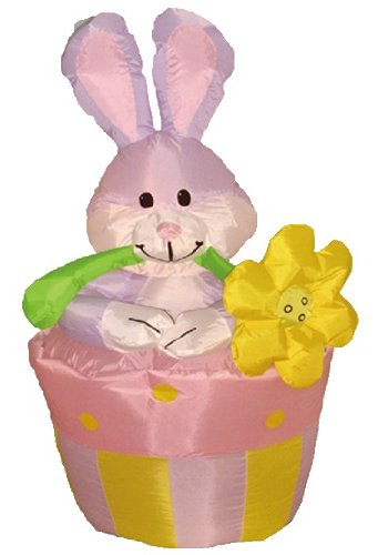 BZB Goods 4 Foot Party Inflatable Bunny on Flowerpot - Yard Blow Up Decoration -